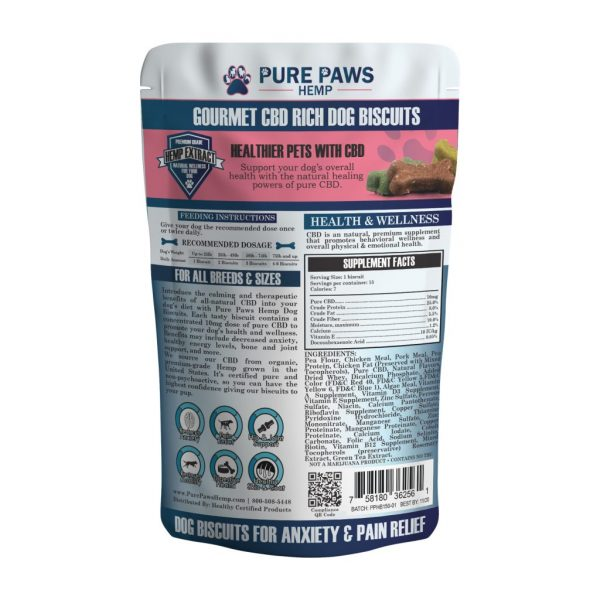 back of Pure Paws Hemp CBD Dog Biscuits
