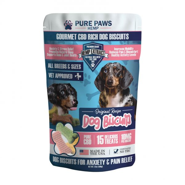 Front of pure paws hemp gourmet cbd rich dog biscuits