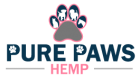 pure paws hemp stacked paw print logo