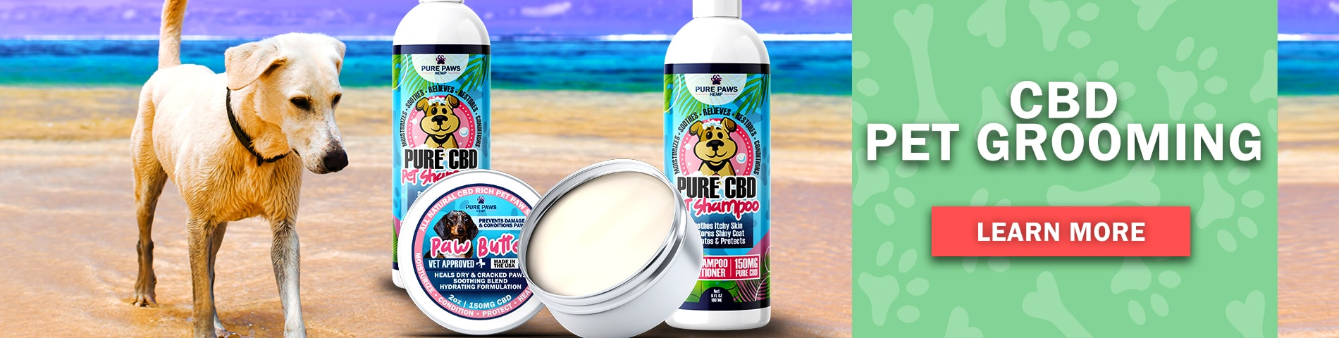 cbd pet grooming products shampoo and paw butter